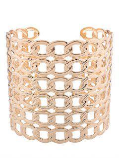 Hollow Out Lock Pattern Metal Cuff Bracelets - Golden
