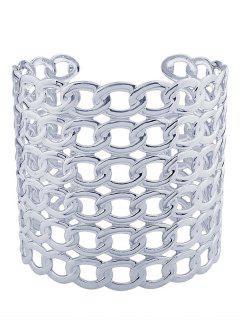 Hollow Out Lock Pattern Metal Cuff Bracelets - Silver
