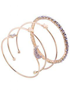 Rhinestone Moon Star Cuff Bracelet Set - Golden