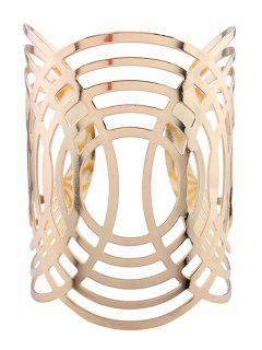 Hollow Out Round Pattern Cuff Bracelets - Golden