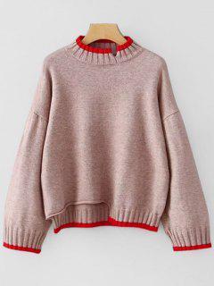 Ausgeschnittener Pullover Mit Hohem Kragen - Pink Lila