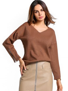 Zip Up Sleeve Ribbed Hem Sweater - Brown