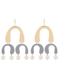 Faux Pearl Chandelier Horseshoe Earrings - Gris