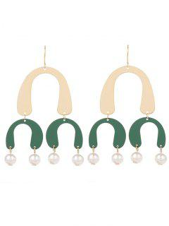 Faux Pearl Chandelier Horseshoe Earrings - Green