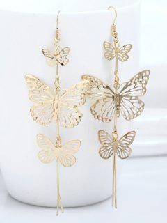 Alloy Layered Butterfly Earrings - Golden