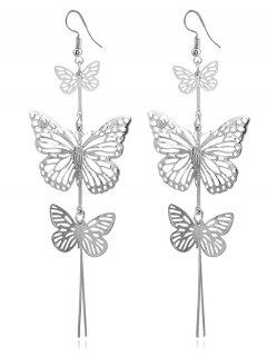 Alloy Layered Butterfly Earrings - Silver