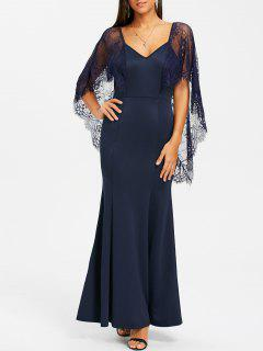 Backless Lace Batwing Maxi Dress - Navy Blue S