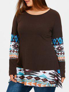 Camiseta De Túnica Con Estampado Azteca Y Estampado Extragrande - Café Oscuro 3xl