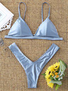 Padded High Cut Thong Bikini Set - Stone Blue S