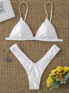 Padded High Cut Thong Bikini Set - White S