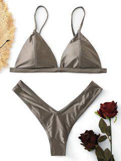 Padded High Cut Thong Bikini Set - Coffee S