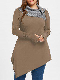 Plus Size Thumb Hole Asymmetrical Tunic Top - Light Brown - Maple Xl