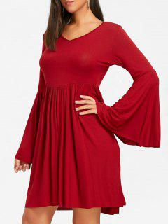 Bell Sleeve Cut Out Mini Swing Dress - Red S