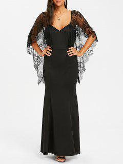 Backless Lace Batwing Maxi Dress - Black L