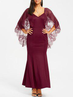 Backless Lace Batwing Maxi Dress - Wine Red S