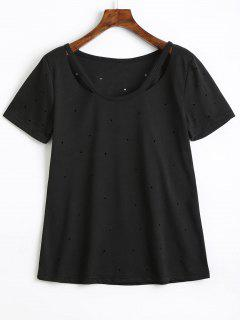 Holes Cotton Cut Out T Shirt - Black M