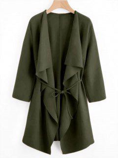 Front Pockets Draped Coat - Army Green S