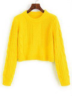 Zopfmuster Pullover Mit Zopfmuster - Gelb