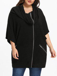 Plus Size Zip Up Hooded Coat - Black 5xl