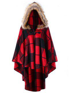 Plus Size Plaid High Low Hooded Cloak - Red Plaid 5xl
