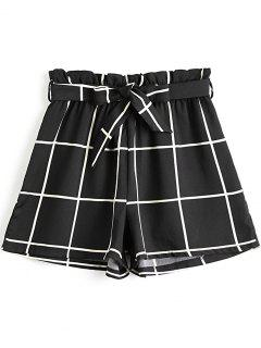 Bowknot Checked High Waisted Shorts - Black L