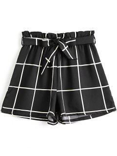 Short à Taille Haute à Carreaux à Noeud Papillon - Noir L