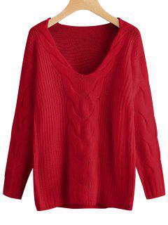 Suéter De Jersey Con Cuello En V Y Cuello Pulido - Rojo S