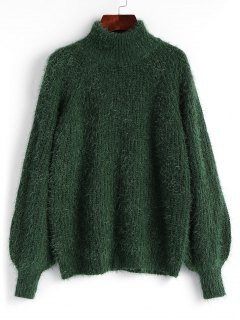 Lantern Sleeve Textured Mock Neck Sweater - Deep Green