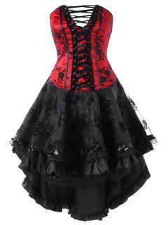 Robe Corset Asymétrique à Lacets Sans Bretelles - Rouge Et Noir Xl