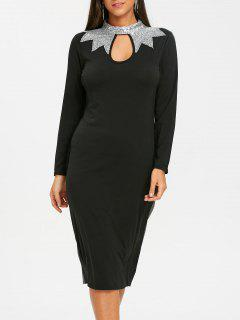 High Neck Sequin Keyhole Pencil Dress - Black M