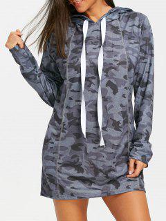 Robe à Capuche Camouflage à Coutures Apparentes - Gris S