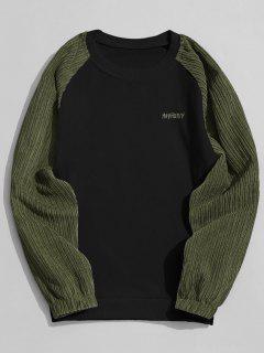 Corduroy Panel Crew Neck Sweatshirt - Black L