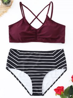 Bikini En Ensemble De Taille Haute à Rayures Avec Bretelles Spaghetti - Rouge Vineux  2xl