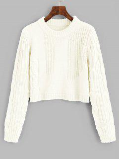 Cable Knit Panel Pullover Cropped Sweater - Off-white