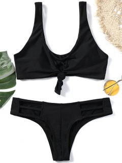 Knotted Plunging Neck Cut Out Bikini Set - Black M