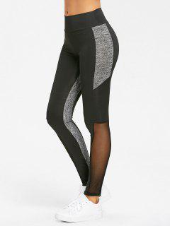 Heather Mesh Panel High Waist Yoga Leggings - Black L