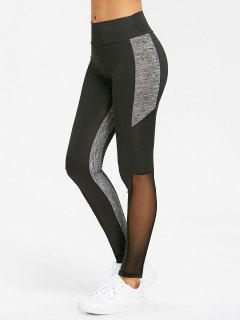 Heather Mesh Panel High Waist Yoga Leggings - Black Xl