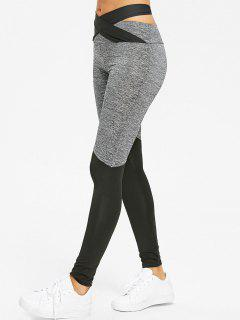 Cross Bandage Heather Two Tone Leggings - Black And Grey Xl