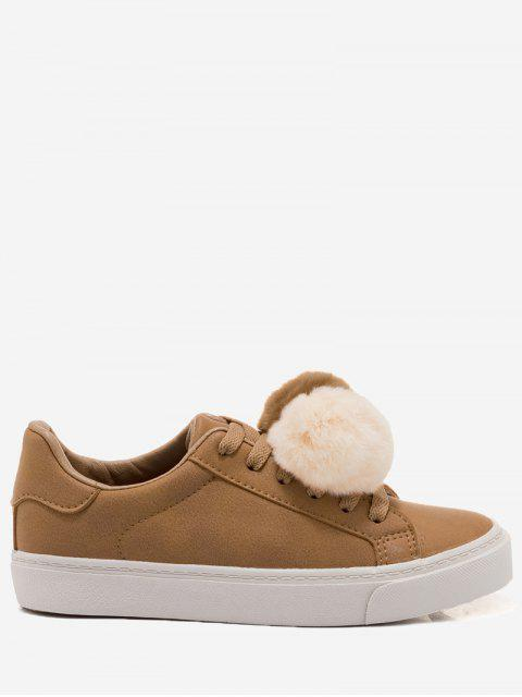 womens PU Leather Pompoms Casual Shoes - YELLOW 38 Mobile