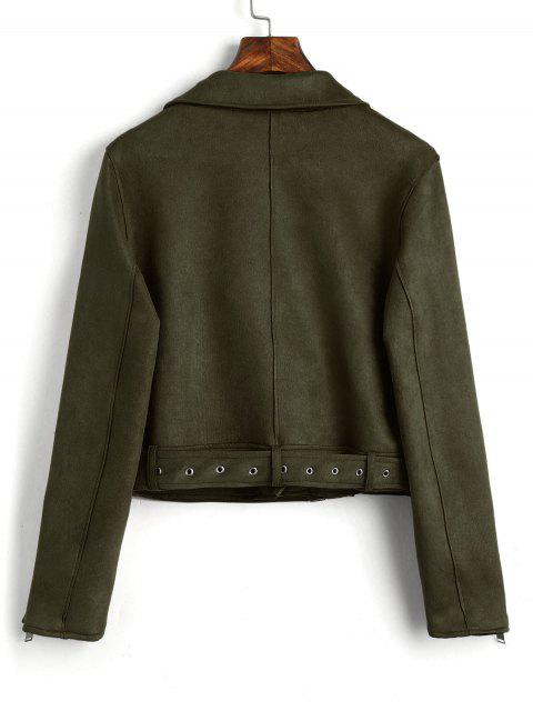 women Zip Up Belted Faux Suede Jacket - ARMY GREEN M Mobile