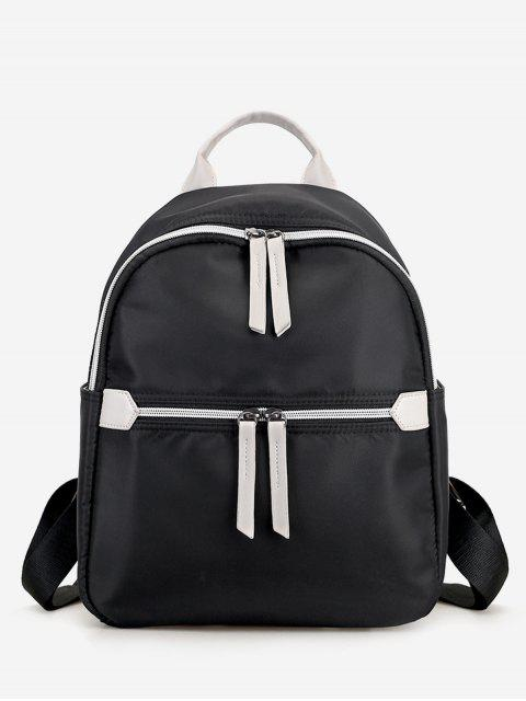 womens Nylon Contrasting Color Backpack - BLACK  Mobile