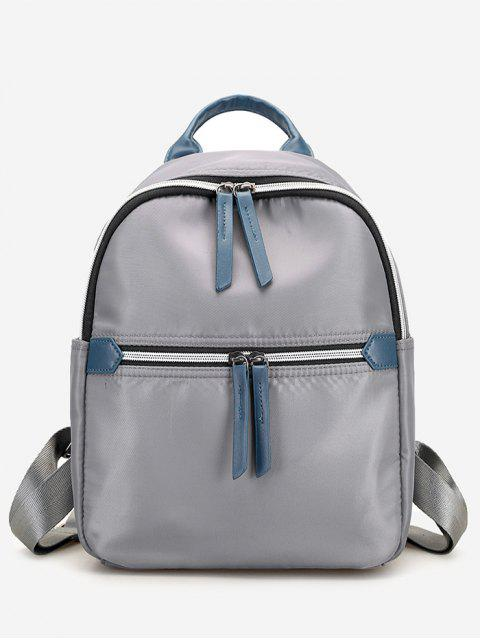 women's Nylon Contrasting Color Backpack - GRAY  Mobile