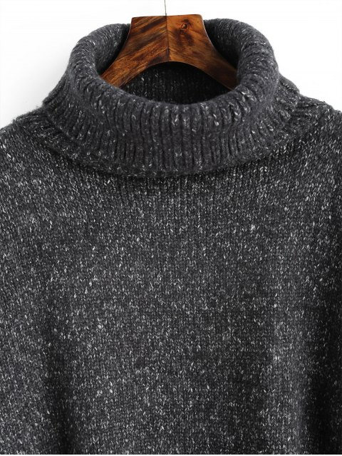 ladies Heathered High Low Turtleneck Sweater - DEEP GRAY ONE SIZE Mobile