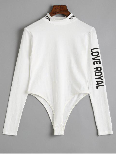 Langarm Dünner Buchstabe Bodysuit - Weiß S Mobile