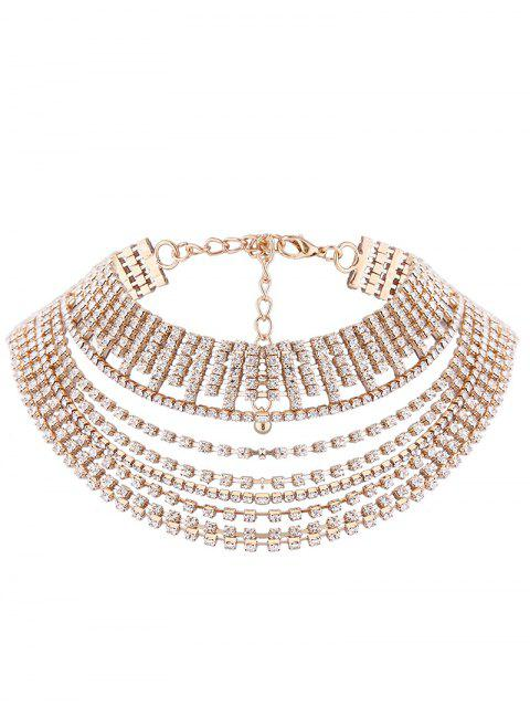 sale Multilayered Rhinestone Chokers Necklace - GOLDEN  Mobile