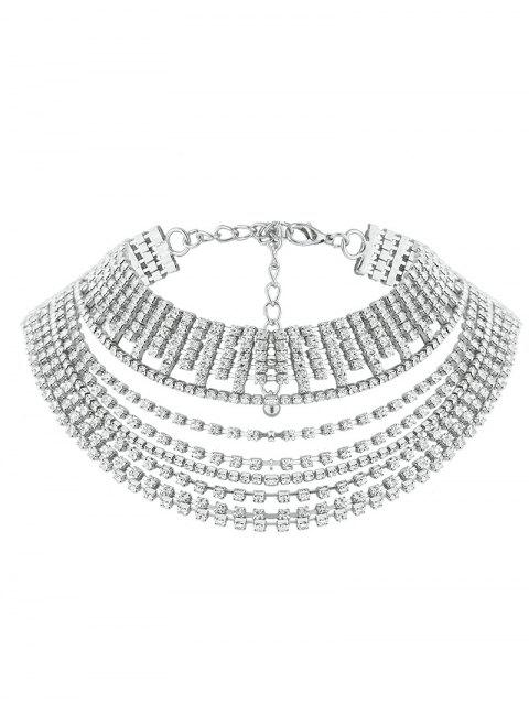 affordable Multilayered Rhinestone Chokers Necklace - SILVER  Mobile