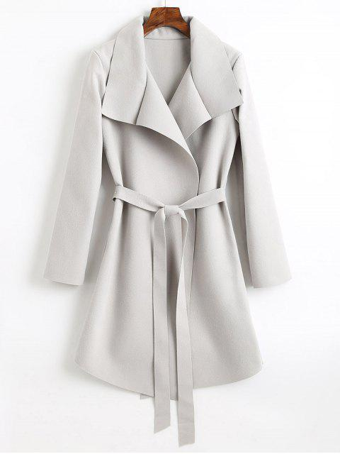 ladies Belted Asymmetrical Wool Blend Coat - LIGHT GRAY S Mobile
