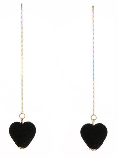 Pendientes de cadena de terciopelo corazón - Negro  Mobile