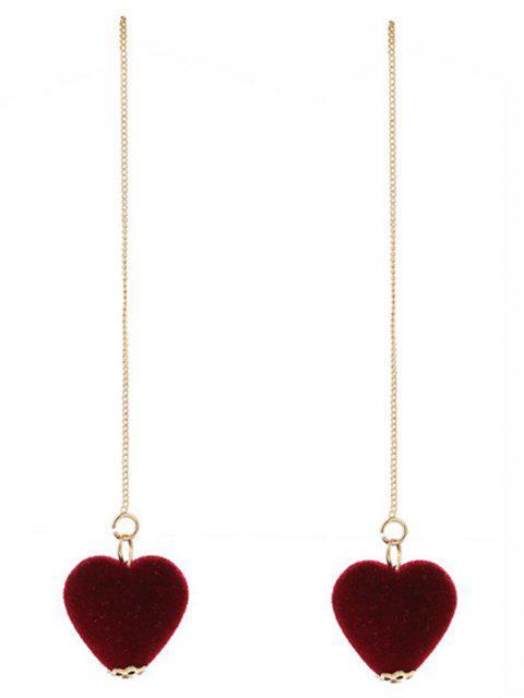 women Velvet Heart Chain Earrings - WINE RED  Mobile