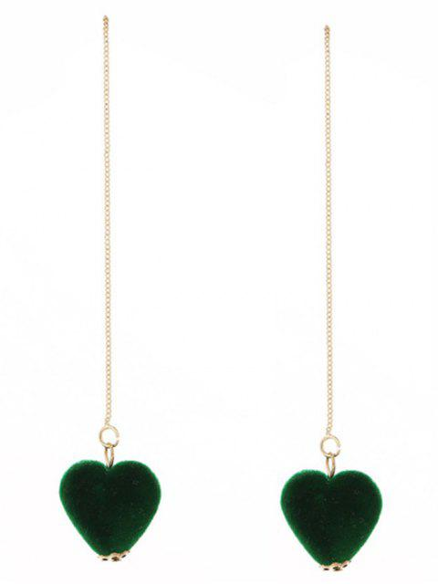 lady Velvet Heart Chain Earrings - GREEN  Mobile
